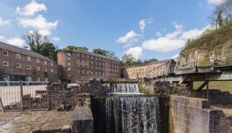 The wheelpit waterfall and raised walkway