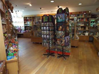 A photograph of the gift shop at Creswell Crags Museum and Heritage Centre.