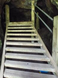 A photograph of the steps leading up toward the first chamber of Robin Hood Cave at Creswell Crags Museum and Heritage Centre