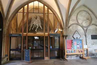 A view of the main entrance from the Cloisters