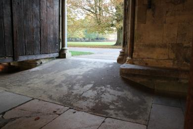 The slope leading from the outside into the Cathedral Cloisters towards the main entrance, the slope is 1950mm long