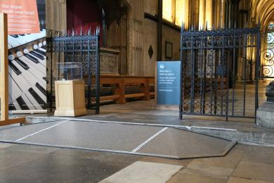 Ramped access to the North Choir Aisle which leads to The Morning Chapel and the Trinity Chapel