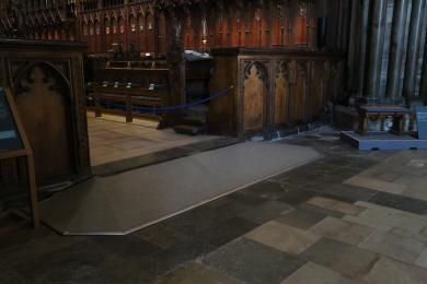 The ramp leading into the Choir Stalls