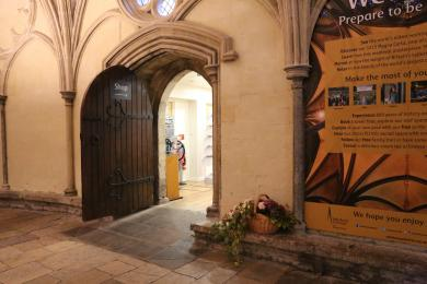 The entrance to the Cathedral Shop accessed via the main entrance
