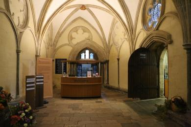The Donations Desk showing access into the Cathedral and into the Cathedral shop