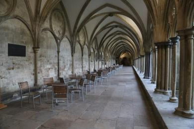 Additional seating outside The Refectory in The Cloisters