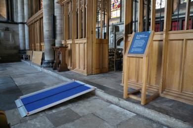 Removable ramp leading into the Chapel of Saints Edmund and Thomas