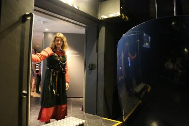 A Viking ready to help visitors off our capsules.
