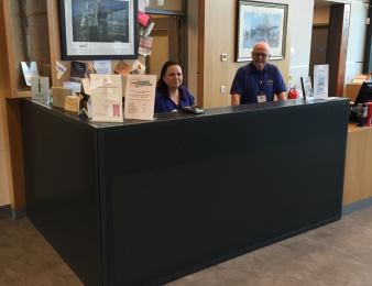 The Reception and Shop desk