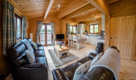 Open plan living room through to kitchen