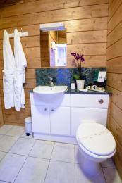 standard height toilet and sink in bathroom