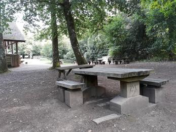 Picnic benches with space for wheelchairs.