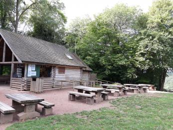 Log Cabin Cafe and picnic benches