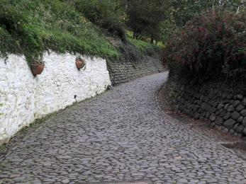 Steep cobblestone route to the village