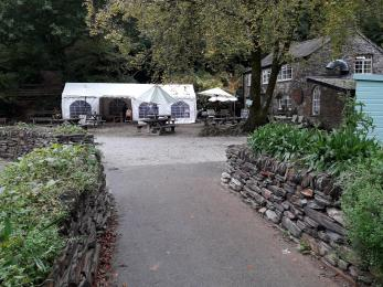 Front approach to Woods Cafe and outdoor seating area