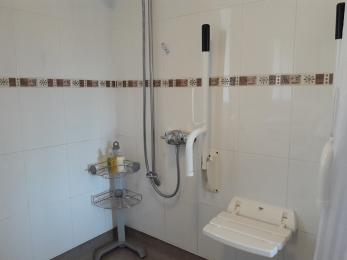 Level access shower with seat