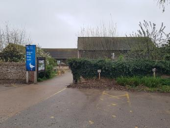 Accessible parking spaces in front of Visitor Centre courtyard