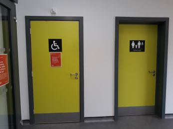 Accessible toilet door