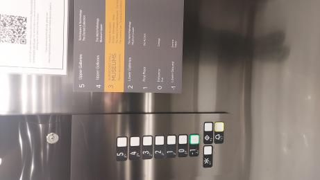 The lift buttons showing the raised areas near the buttons