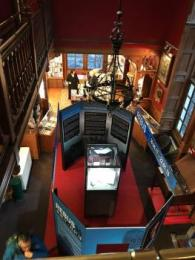 The temporary exhibit space photographed from above