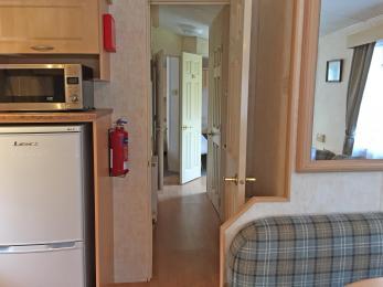 Standard 3 bedroomed caravan showing internal hallway to bedrooms