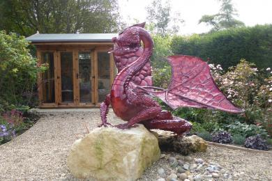 Dragon Sculpture and summer house