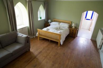 Bedroom area and view to garden door (bathroom is on right just before garden door)