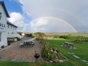 Terrace with rainbow