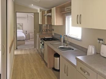 Accessible Caravan open plan galley kitchen