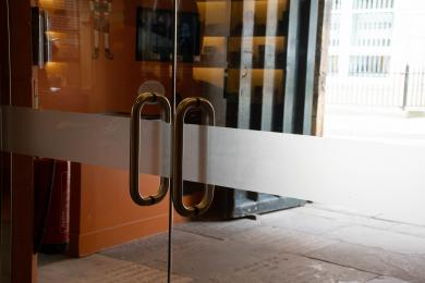 Contrast markings on front glass doors.