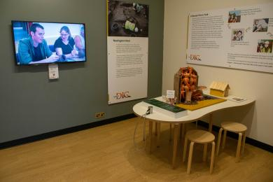 Community gallery with wheelchair accessible table.