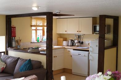 Open plan kitchen on 1st floor