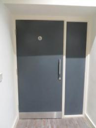 Accessible toilet door closed