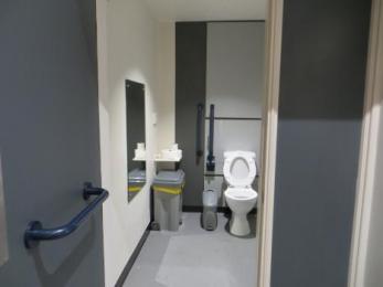Toilet interior with door opening outwards into corridor
