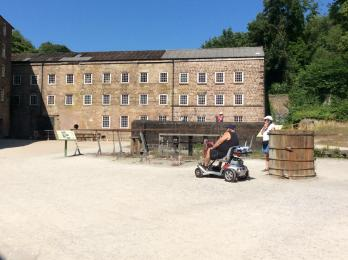 Mobility scooter at the top end of the Mill Yard
