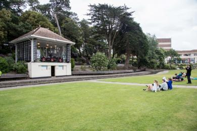 Bandstand in Lower Gardens, accessible from main route, benches, picnic/grass area, access through wide breaks in rail