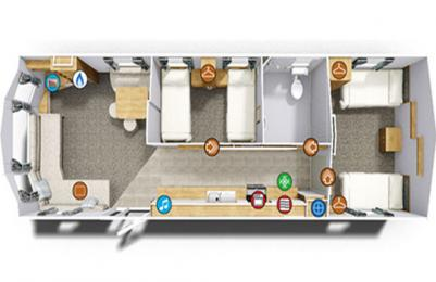 Layout of the caravan holiday home at Blairgowrie Holiday Park