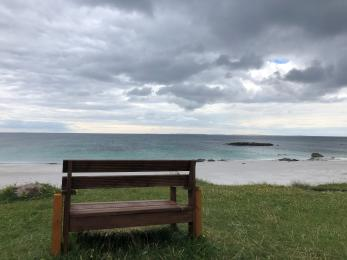 Bench located at a viewpoint