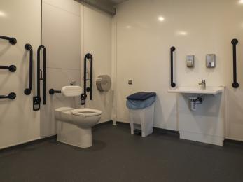 Peninsular Toilet,  Washbasin Height Adjustable,  Non-Slip Floor