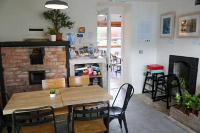 cafe interior, remnants of original assay offfice