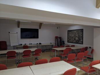 Inside the Community Room, which can be set up for activities, events and training courses.