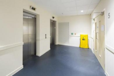Corridor area leading to lifts