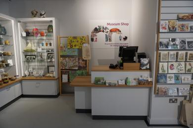 Photo of shop counter including low level counter.