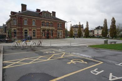 Photo of disabled spaces outside the museum