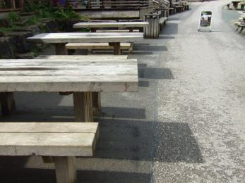 Picnic tables at the Visitor Centre