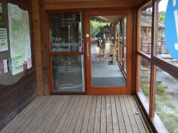 Manual doors to atrium and Bedgebury Cafe