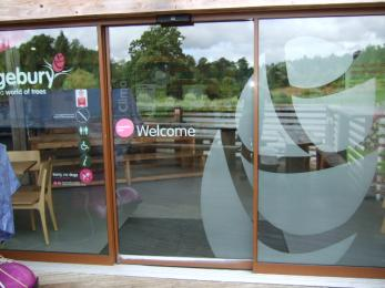Automatic sliding door to atrium and Bedgebury Cafe