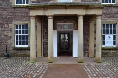Main reception entrance, wooden doors opened
