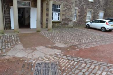 Cobbles directly outside main reception entrance