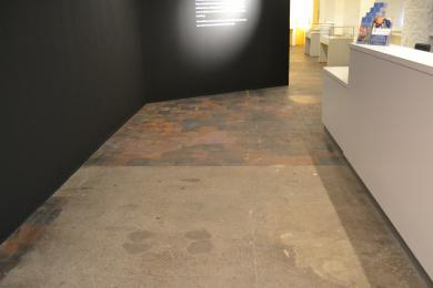 Original Mill flooring throughout the Exhibition Gallery & Reception Desk